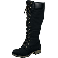 Womens Knee High Boots Combat Two Tone Lace Up Shoes Black SZ