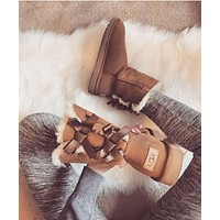 """UGG"" Women Fashion Bow Wool Snow Boots"