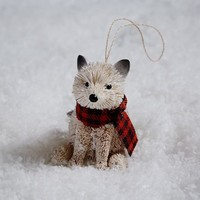 Bottle Brush Ornament - Baby Fox + Scarf