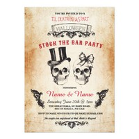 Skull Stock The Bar Party Halloween Gothic Invite