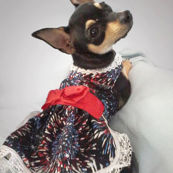 Dog Dress patriotic Fourth of July Memorial Day Labor Day dress Fireworks dog clothes