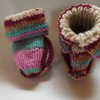 Baby booties - jacquard style pattern - age 3 - 6 months - for boys and girls - OOAK