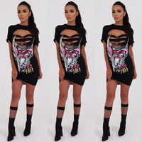 Fashion Hollow Ripped Letter Pattern Print Short Sleeve T-shirt Mini Dress
