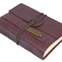 Burgundy Leather Journal with Love Bookmark