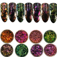 1 Box Chameleon Starry Sparkly Super Shining Ultra-thin Nail Art Glitter Sequins Chrome Powder 3D Nail Decoration 8 Colors #703