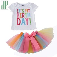Toddler girls summer clothing Set kids Unicorn Rainbow Tutu birthday skirt christmas party outfits 2018 casual children clothing