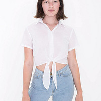 Lawn Mid-Length Tie-Up Blouse | American Apparel