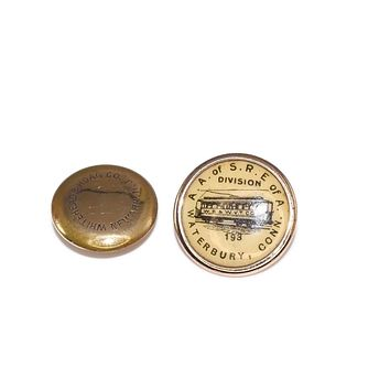 Waterbury Connecticut Antique Cable Car Trolley Gold Filled Button