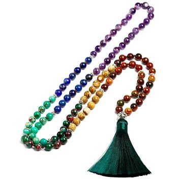7 Chakra Mala 108 Beads Natural Stone Long Tassel Necklace Women Meditation Necklace Knotted Bead Yoga Necklaces Jewelry (114 cm)