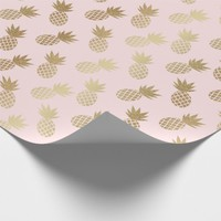 Gold Pineapple Pattern Wrapping Paper