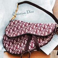 Dior Multi-print saddle bag saddle cross-body portable wide strap Red