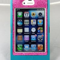 Custom Glitter Otterbox iPhone 4S Defender Series Case for iPhone 4S Teal/Raspberry