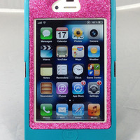 Otterbox Case iPhone 4/4S Glitter Cute Sparkly Bling Defender Series Custom Case Teal/Raspberry