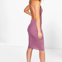 Lia Ribbed Open Back Detail Midi Bodycon Dress
