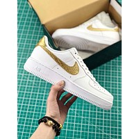 Cristiano Ronaldo X Nike Air Force 1 Low Cr7 White Gold Sport Shoes