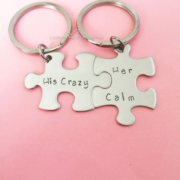 His Crazy Her Calm, Couples Keychains, anniversary gift, puzzle pieces