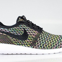 Nike Men's Flyknit Roshe Run ID Multi Color White Sole
