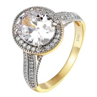Oval Cut Solitaire Wedding Ring Ladies 14k Gold Over 925 Silver Promise Ring New