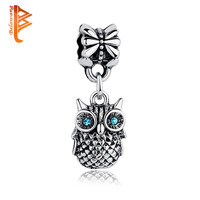 High Quality Tibetan Silver Blue CUBIC ZIRCONIA OWL 925 Charm Pendant Fit Pandora Bracelet Necklace DIY Original Jewelry ps3246