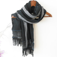 Black men scarf, black patterned scarf, black unisex scarf, winter accessories, men's fashion, christmas gifts, christmas gifts for men