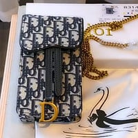Dior old flower canvas chain phone bag