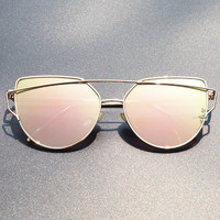 Women Luxury Brand Sunglasses Aviator Lunette Femme Cat Eye Eyewear Frames Sun Glasses Female or Lady Pink Rose Gold Sunglasses