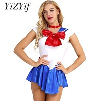 YiZYiF Anime Cosplay Dress Can You Be My Sailor Moon Costume Cheer Skirt fantasia adulto Uniform Halloween Costumes Sailor School Girl Dress
