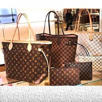 DCCK LV Louis Vuitton Flor Women Girl Monogram Canvas Neverfull Two piece And Key pouch-Coin purse