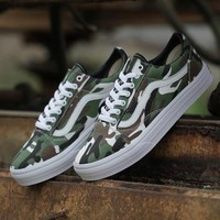 Vans Camouflage Print Canvas Old Skool Flats Sneakers Sport Shoes