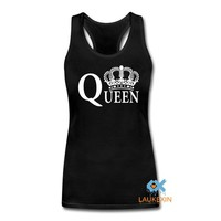King Queen Harajuku Couples Singlets Tops Crops For Summer 2016 Fashion Camisetas Mujer Bustier Crop top haut femme sexy Tank