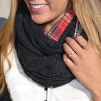 Love On Rewind Black Plaid Double Sided Knit Infinity Scarf