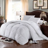 SUPER LUXURIOUS TWIN / TWIN XL Extra Long Size Goose Down Alternative Comforter,600 Thread Count100% Egyptian Cotton Cover, 750 Fill Power, 70 Oz Fill Weight,Solid White Color