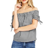 Gingham Off Shoulder Top