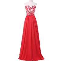 Grace Karin Red Long Evening Dress  New Chiffon Lace Elegant Red Evening Gowns Special Occasion Wedding Party Dress 6175