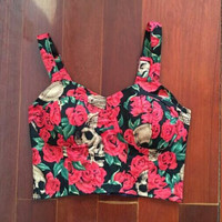 Rose Skull Print Slim Crop Top B0013869