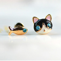Cat and Fish Earrings