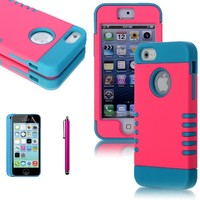 Lumsing 3-piece 3 in 1 Combo Hybrid Defender High Impact Body Heavy Duty Armor Hard PC & Silicone Case Protective Cover for Apple iPhone 5C iPhone 5 iPhone 5s with Screen Protector & Stylus Pen (Pink+Light Blue)