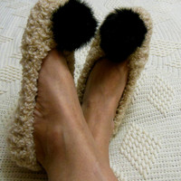 Chunky beige slippers for women Footwear Handmade home shoes Rabbit Fur Pom Pom Knitted slippers House flats READY to SHIP