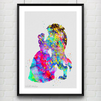 Beauty and the Beast Watercolor Print, Belle Disney Princess Baby Nursery Room Art, Minimalist Home Decor Not Framed, Buy 2 Get 1 Free! No 2