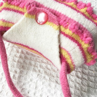 Little girls hand made purse felted little girl handbag felted pink and yellow and white purse Made By Lala on Etsy