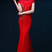 Embellished Lace Appliqué Bridal Qipao Red Gown