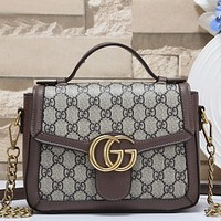 Gucci Women Fashion Pattern Leather Crossbody Bag