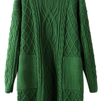 ROMWE Asymmetric Double Pockets Cable Knit Green Jumper