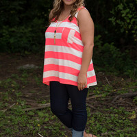 Curvy| Yours and Mine Tank - Coral