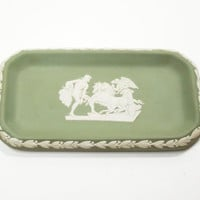Vintage green Wedgwood Jasperware trinket dish pin dish ring dish soap dish - Made in England