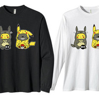 totoro pokemon pikachu for long sleeves heppy fit & sizing standart us