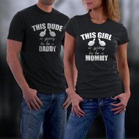 Couples T-Shirts, Matching Couples Shirts, Daddy/Mommy To Be, Baby Announcement Couples Match Tees