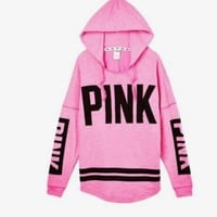 Victoria's Secret PINK Women's Fashion Letter Print Hooded Long-sleeves Pullover Tops Sweater Tagre™