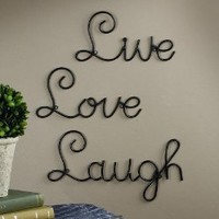 Live Love Laugh Set 3 Wall Mount Metal Wall Word Sculpture, Wall Decor