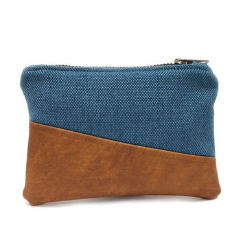 Blue Coin Pouch, Change Purse, Small Zip Pouch, Mini Makeup Bag, Credit Card Holder, Small Coin Purse, Blue Zipper Case, Small Zipper Bag